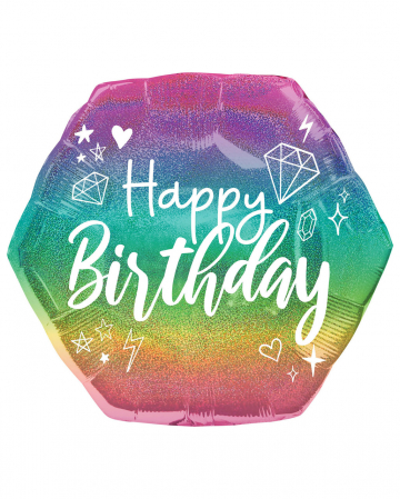 Happy Birthday Holographic Glitter Foil Balloon