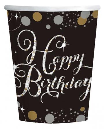 Happy Birthday Pappbecher Glamour 8 St.