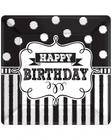 Happy Birthday Paper Plate Black-white 8 Pcs.