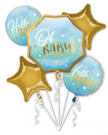 Hello World Foil Balloon Bouquet Blue