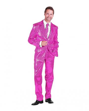 Herren Anzug mit Pailletten Rosa