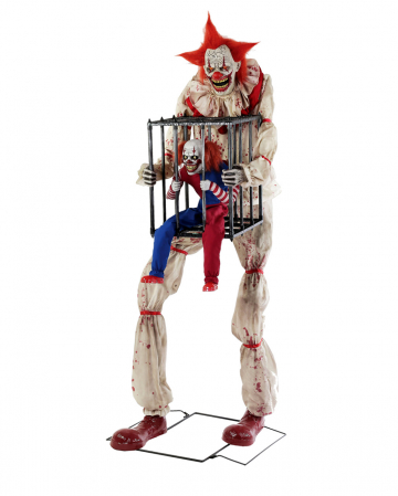 Horror Clown With Clown In Cage Animatronic