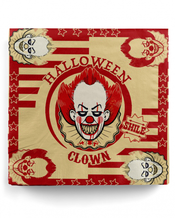 Horror Clown Party Napkins 20 Pieces