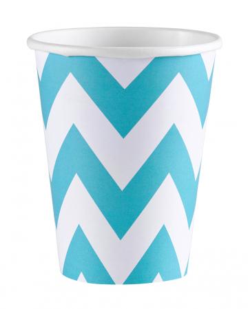 Caribbean Blue Zig-Zag Paper Cups 8 Pc.
