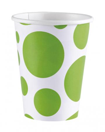 Kiwi Green Dots Paper Cups 8 Pcs.