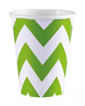 Kiwi Green Zig-Zag Paper Cups 8 Pc.