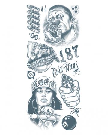 Glue Tattoo Set With Gangster Motives