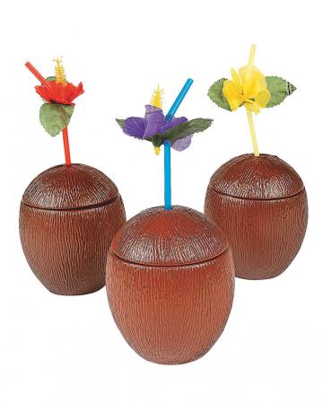 Kokosnuss Cocktail Becher mit Deckel