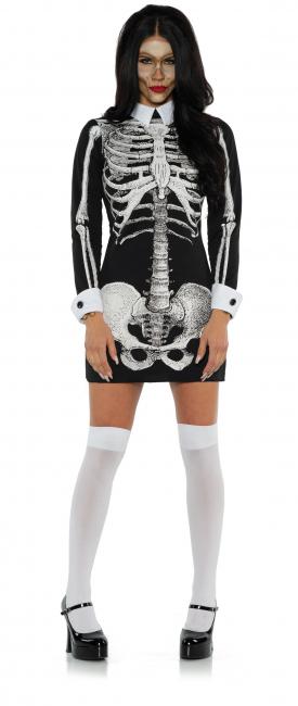 Long Sleeve Skeleton Mini Dress With Collar