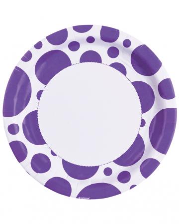 Purple Dots Paper Plates 8 Pc.