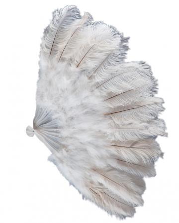 Weißer Burlesque Federfächer XXL 50cm