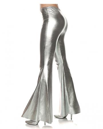 Metallic Schlaghose Silber