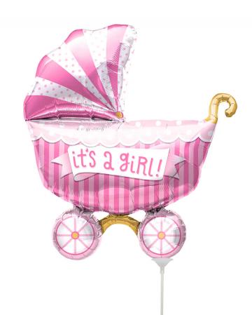 Mini-Folienballon Kinderwagen - It´s A Girl -