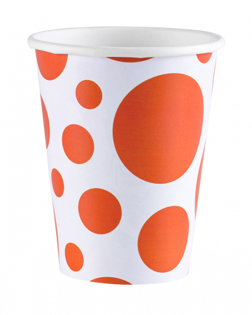 Orange Dots Paper Cups 8 Pcs.