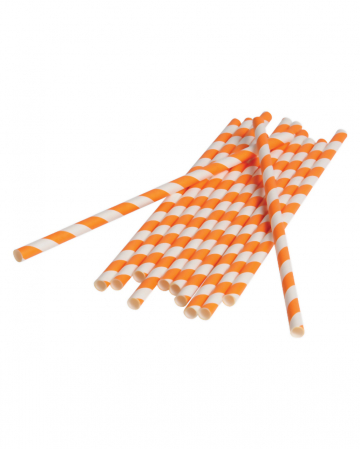 12 Paper Straws Orange White