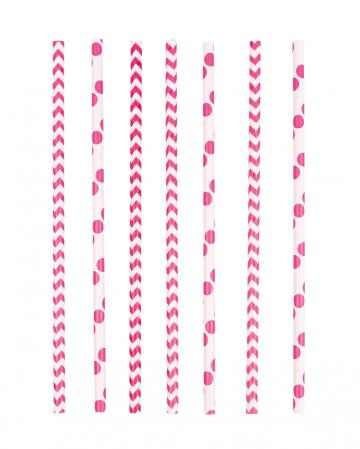 24 Paper Straws Pink