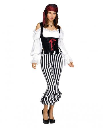 Piratin Kostümhose schwarz-weiß