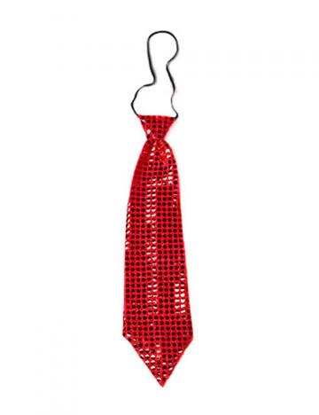 Riesen Pailletten Krawatte rot