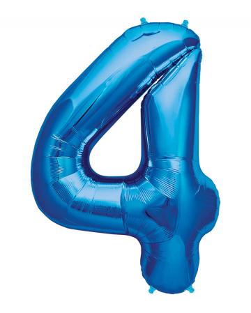Folienballon Zahl 4 Blau