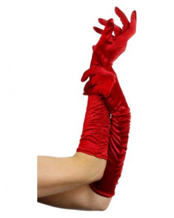 Ellenbogenlange Handschuhe rot