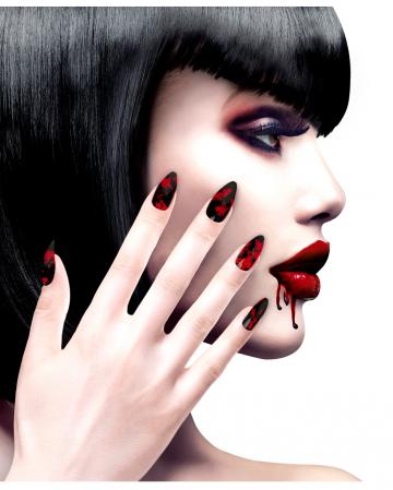 Black Fingernails With Blood Splatter 12 Pcs.