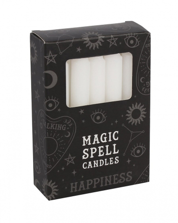 "White ""Happiness"" Magic Candles 12pcs."