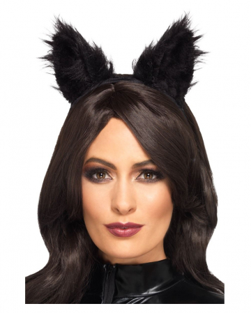 Black Synthetic Fur Cat Ears