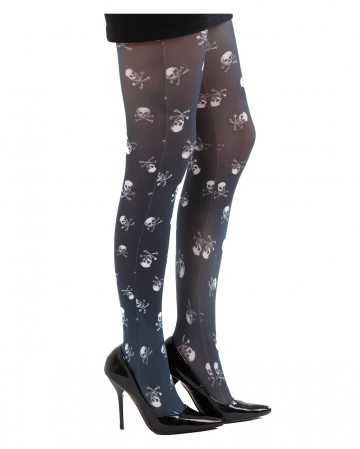 Pantyhose With Skulls Black / White
