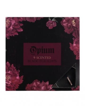 Schwarze Teelichter Opium Parfümiert 9 St.