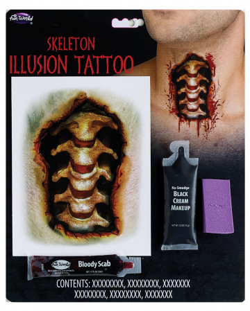 Skeleton Neck Adhesive Tattoo Makeup Set