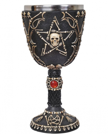 Skeletal cup with pentagram