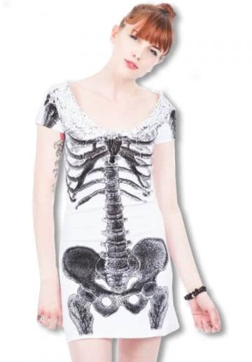 Skelett Shirtkleid weiß