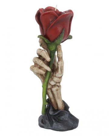 Skeletthand mit Rose Teelichthalter