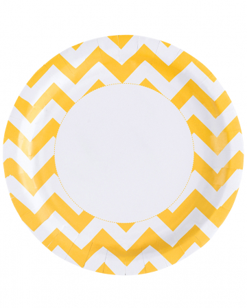 Summer-yellow Zig-zag Paper Plate 8 Pcs.