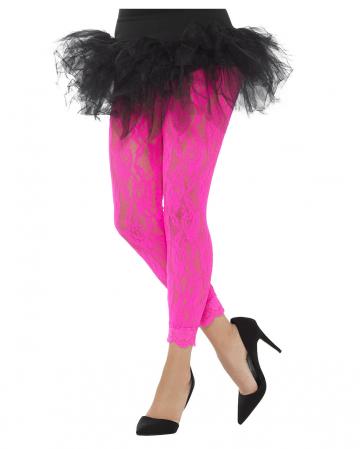 80s lace top leggings neonpink