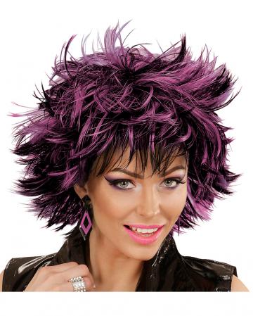Steamy Perücke Schwarz-Violett für Halloween