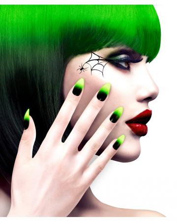 Stileto Fingernails Black / Neon Green 12 Pcs.