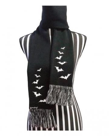 Strickschal mit Fledermaus Motiv & Fransen
