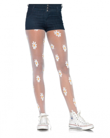 Fine tights with flowers
