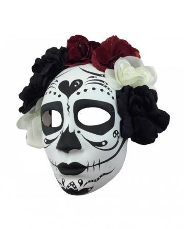 Sugar Skull Maske mit Blüten