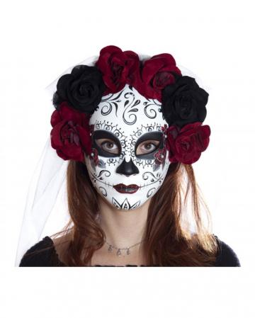 Sugar Skull Mask With Flowers & Veil