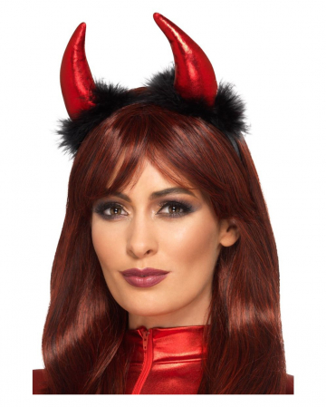 Devil Horns Hairband With Feathers