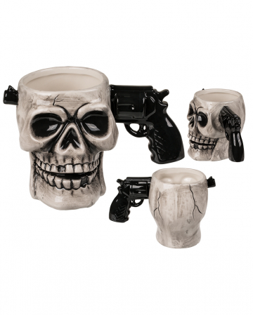 Skull Ceramic Cup With Pistol Handle