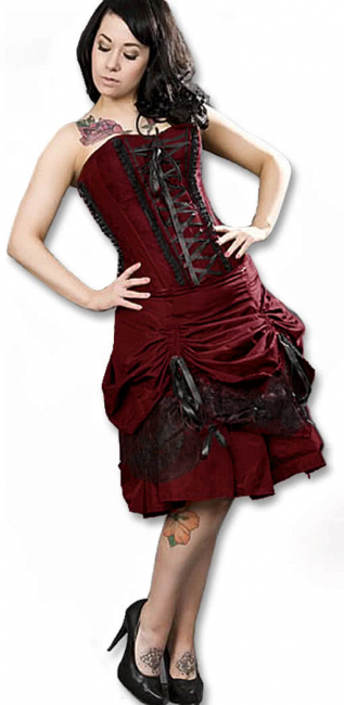 Strapless Corset Dress with ruffles