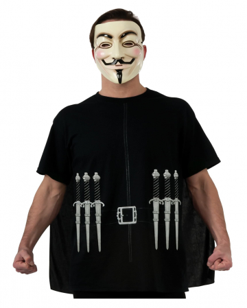 V For Vendetta T-Shirt With Cape & Mask XL