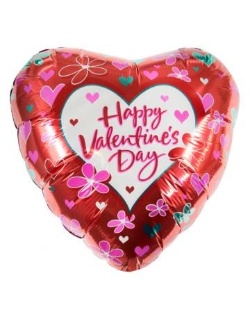 Happy Valentins Day Folienballon mit Blumen