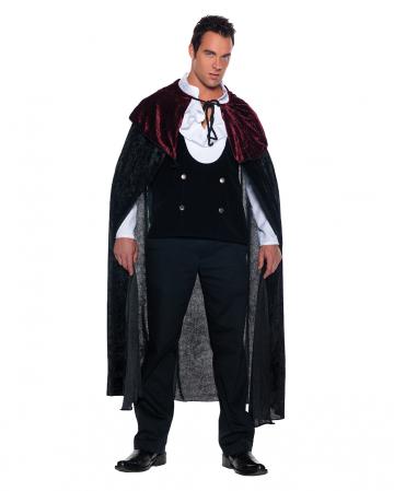 Vampir Samt Umhang schwarz-rot