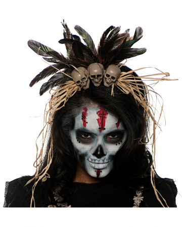 Voodoo headdress with skulls
