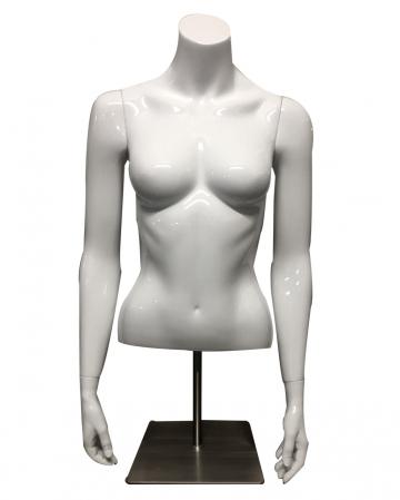 Weiblicher Schaufenster Torso Weiß mit Bodenplatte