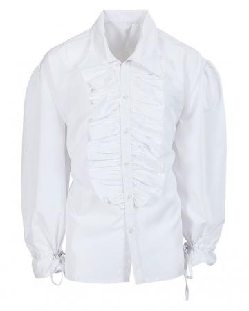 Weißes Rüschenhemd mit Knöpfen